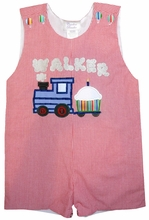 Boy's Birthday Monogrammed Train 1st through 5th Birthday John John, Longall or Shorts Set