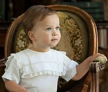 Heirloom Boy's Square Intersecting Lace Collar Bubble, Button On or Blouse over Shorts