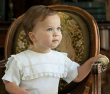 Boy's Heirloom Bubble, Button On or Shirt and Shorts Outfit with Square Collar and Vertical and Horizontal Intersecting Lace