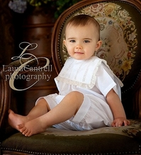 Heirloom Boy's Bubble, Button On or Shirt over Shorts with Square Collar and Vertical Lace