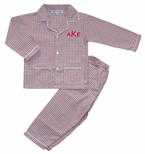 Boy's Monogrammable Red, Green and White Gingham Pajamas for Christmas