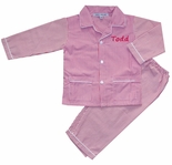 Boy's Red and White Stripe Monogrammable Pajamas