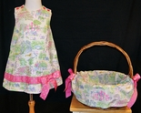 Caroline Bradlee Easter Toile Dress with Ribbon Accent and Optional Matching Easter Basket Cover