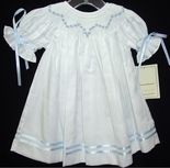 Girl's Smocked Heirloom Dress with Blue Rosebuds and Ribbon