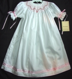 Girl's Smocked Heirloom Dress with Pink Rosebuds, Ribbon