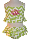 Zuccini Girl's Lime Green Chevron 2 Piece Monogrammable Swimsuit
