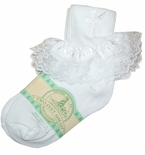 Girl's Christening Socks With Cross And Lace