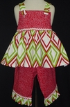 Custom Girl's Christmas Chevron Dress.