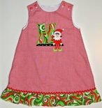 Monogrammed Christmas Elf Custom Dress Girls Outfit