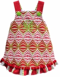 Custom Girl's Christmas Ornaments Dress in Red Lime Chevron