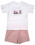 Claire & Charlie Smocked Boy's Golf Short Set.
