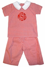 Claire & Charlie Boy's Red Gingham Monogrammable Top and Pants Set
