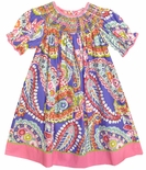 Claire & Charlie Smocked Paisley Dress