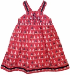 Cotton Kids Girl's Nantucket Sailboats Fabric Dress With Ribbon Trim.