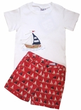 Cotton Kids Boy's Nantucket Sailboats Fabric Shorts And Sailboat Shirt.
