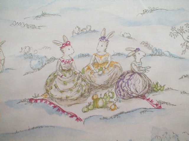 Cottontail Bunny Rabbits Toile Fabric