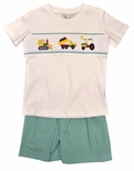 Delaney Smocked Work Construction Trucks Shorts Set