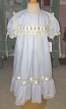Easter Heirloom Blue Dress with Square Collar, Horizontal Ribbon and French Lace
