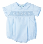 Feltman Brothers Baby Boy's White or Blue Smocked Creeper Bubble and Optional Hat