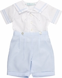 Feltman Brothers Boy's White and Blue Sailor Romper