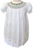Feltman Brothers White Christmas Smocked Dress, Red Green Embroidery