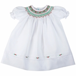 Feltman Brothers Christmas Smocked Dress in White with Red & Green Embroidery