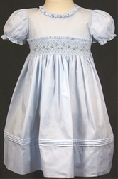 Feltman Brothers Smocked Dress Baby Girls White Blue Pink