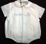 Feltman Brothers Baby Boy's Embroidered Boats Romper Bubble.