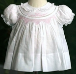 Feltman Brothers Dress for Baby Girl in White with Pink Flowers.