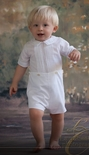 Feltman Brothers Boy's White Button Shortall Romper.