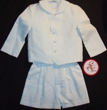 Boy's White Suit with Button Down Coat and Shorts By Funtasia.