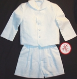 Boy's White Eton Suit with Button Down Coat and Shorts By Funtasia.