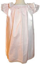 Girl's Heirloom Monogrammable Angel Wing Dress in Pink with White Lace and Shoulder Ribbons