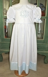 """Heirloom """"Betsy"""" Dress with Color Accent Hem, French Lace and Tie Back Sash"""