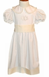 Girl's HEIRLOOM Dress with Accent Hem, Tie Back Fabric Sash and Lace