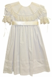 Girl's Heirloom Dress with Round French Lace Portrait Collar, Skirt Pintucks and Satin Ribbon Sash and Bow