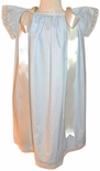 Girl's Heirloom Monogrammable Angel Wing Dress in Blue with Ecru/Ivory Lace and Shoulder Ribbons