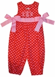 Girl's Monogrammable Long Bubble in Red with Pink Dots and Ribbon