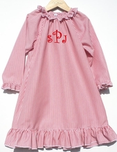 Girl's Monogrammable Red and White Stripe Night Gown Perfect for Christmas