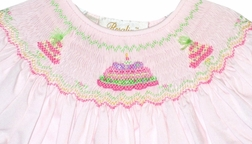 Girl's Smocked Birthday Cake And Birthday Hats Dress in Pink by Rosalina