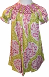 Maria Elena Smocked Christmas Dress in Lime and Cranberry Paisley