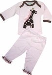 Girl's Pink Pajamas in Jungle Animals Leopard Fabrics by Haute Baby