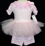Girl's Pink Tutu Top And Ruffle Flower Shorts Outfit.