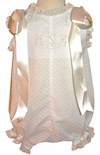 Heirloom Baby Girl's Infant Monogrammable Bubble in White Swiss Dot Fabric with Ecru/ivory French Lace and Satin Ribbon