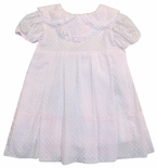 Heirloom Baby Girl's Pink Swiss Dot Monogrammable Bib Collar Dress