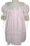 Heirloom Portrait Special Occasion Dress in Pink OR Blue with Ecru/Ivory Lace and Ribbon