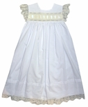 Heirloom Dress with Horizontal Beading and Satin Ribbon Bodice and Lace Sleeves