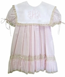 Heirloom Dress with Square Lace Monogrammable Collar
