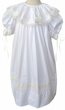 Heirloom Round Collar Dress in White with Ecru/Ivory Lace and Ribbon