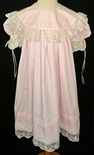 Heirloom Girl's Dress in Pink or Light Blue with Round Collar Trimmed in French Lace and English Netting